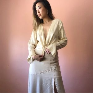 & Other Stories Ivory Plunging Blouse